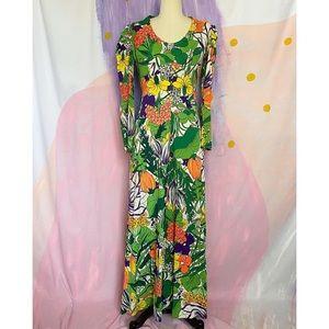 VINTAGE 1970s Groovy Neon Floral Print Maxi Dress